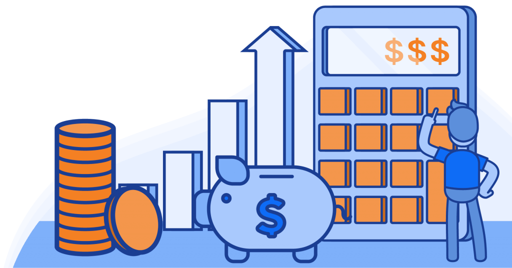 Illustration of a calculator, piggy bank, coins, and a chart